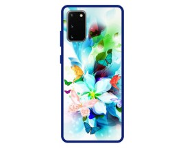 Husa Premium Spate Upzz Pro Anti Shock Compatibila Cu Samsung Galaxy S20, Model Painted Butterflies, Rama Albastra