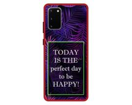 Husa Premium Spate Upzz Pro Anti Shock Compatibila Cu Samsung Galaxy S20, Model Perfect Day, Rama Rosie