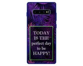 Husa Premium Spate Upzz Pro Anti Shock Compatibila Cu Samsung Galaxy S10+ Plus, Model Perfect Day, Rama Albastra