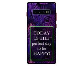 Husa Premium Spate Upzz Pro Anti Shock Compatibila Cu Samsung Galaxy S10+ Plus, Model Perfect Day, Rama Neagra