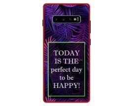 Husa Premium Spate Upzz Pro Anti Shock Compatibila Cu Samsung Galaxy S10+ Plus, Model Perfect Day, Rama Rosie