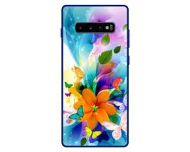 Husa Premium Spate Upzz Pro Anti Shock Compatibila Cu Samsung Galaxy S10+ Plus, Model Painted Butterflies 2, Rama Albastra