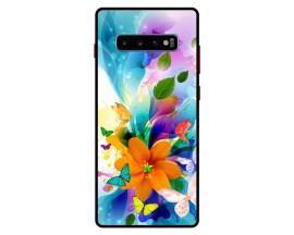 Husa Premium Spate Upzz Pro Anti Shock Compatibila Cu Samsung Galaxy S10+ Plus, Model Painted Butterflies 2, Rama Neagra