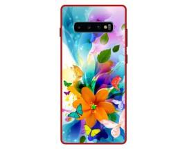 Husa Premium Spate Upzz Pro Anti Shock Compatibila Cu Samsung Galaxy S10+ Plus, Model Painted Butterflies 2, Rama Rosie