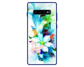 Husa Premium Spate Upzz Pro Anti Shock Compatibila Cu Samsung Galaxy S10+ Plus, Model Painted Butterflies, Rama Albastra
