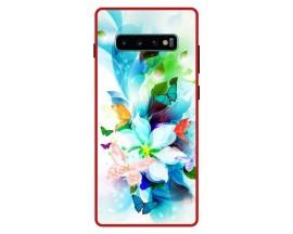 Husa Premium Spate Upzz Pro Anti Shock Compatibila Cu Samsung Galaxy S10+ Plus, Model Painted Butterflies, Rama Rosie