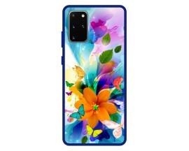 Husa Premium Spate Upzz Pro Anti Shock Compatibila Cu Samsung Galaxy S20+ Plus, Model Painted Butterflies 2, Rama Albastra