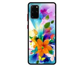Husa Premium Spate Upzz Pro Anti Shock Compatibila Cu Samsung Galaxy S20+ Plus, Model Painted Butterflies 2, Rama Neagra