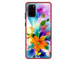 Husa Premium Spate Upzz Pro Anti Shock Compatibila Cu Samsung Galaxy S20+ Plus, Model Painted Butterflies 2, Rama Rosie