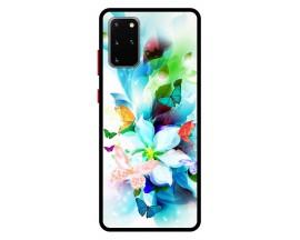 Husa Premium Spate Upzz Pro Anti Shock Compatibila Cu Samsung Galaxy S20+ Plus, Model Painted Butterflies, Rama Neagra