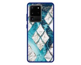 Husa Premium Spate Upzz Pro Anti Shock Compatibila Cu Samsung Galaxy S20 Ultra, Model Marble 1, Rama Albastra