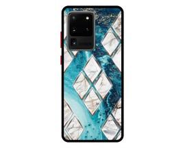Husa Premium Spate Upzz Pro Anti Shock Compatibila Cu Samsung Galaxy S20 Ultra, Model Marble 1, Rama Neagra