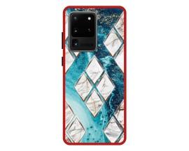 Husa Premium Spate Upzz Pro Anti Shock Compatibila Cu Samsung Galaxy S20 Ultra, Model Marble 1, Rama Rosie