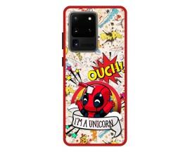Husa Premium Spate Upzz Pro Anti Shock Compatibila Cu Samsung Galaxy S20 Ultra, Model Ouch, Rama Rosie