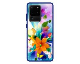 Husa Premium Spate Upzz Pro Anti Shock Compatibila Cu Samsung Galaxy S20 Ultra, Model Painted Butterflies 2, Rama Albastra