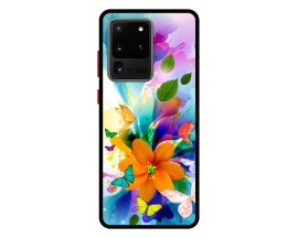 Husa Premium Spate Upzz Pro Anti Shock Compatibila Cu Samsung Galaxy S20 Ultra, Model Painted Butterflies 2, Rama Neagra