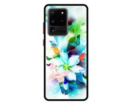 Husa Premium Spate Upzz Pro Anti Shock Compatibila Cu Samsung Galaxy S20 Ultra, Model Painted Butterflies, Rama Neagra