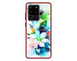 Husa Premium Spate Upzz Pro Anti Shock Compatibila Cu Samsung Galaxy S20 Ultra, Model Painted Butterflies, Rama Rosie