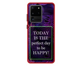 Husa Premium Spate Upzz Pro Anti Shock Compatibila Cu Samsung Galaxy S20 Ultra, Model Perfect Day, Rama Rosie