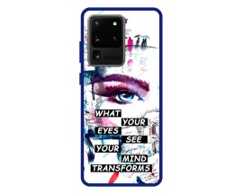 Husa Premium Spate Upzz Pro Anti Shock Compatibila Cu Samsung Galaxy S20 Ultra, Model Your Eyes, Rama Albastra
