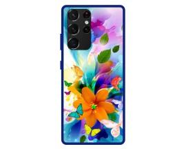 Husa Premium Spate Upzz Pro Anti Shock Compatibila Cu Samsung Galaxy S21 Ultra, Model Painted Butterflies 2, Rama Albastra