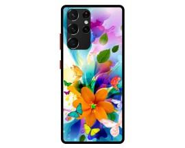 Husa Premium Spate Upzz Pro Anti Shock Compatibila Cu Samsung Galaxy S21 Ultra, Model Painted Butterflies 2, Rama Neagra