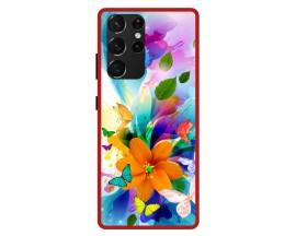 Husa Premium Spate Upzz Pro Anti Shock Compatibila Cu Samsung Galaxy S21 Ultra, Model Painted Butterflies 2, Rama Rosie