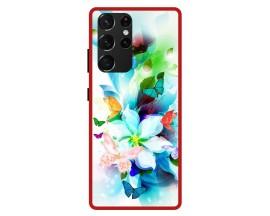 Husa Premium Spate Upzz Pro Anti Shock Compatibila Cu Samsung Galaxy S21 Ultra, Model Painted Butterflies, Rama Rosie