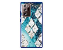 Husa Premium Spate Upzz Pro Anti Shock Compatibila Cu Samsung Galaxy Note 20 Ultra, Model Marble 1, Rama Albastra