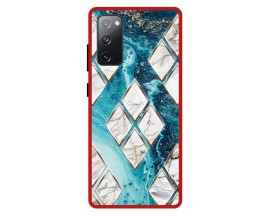 Husa Premium Spate Upzz Pro Anti Shock Compatibila Cu Samsung Galaxy S20 FE, Model Marble 1, Rama Rosie