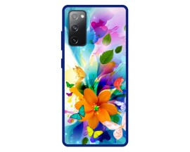 Husa Premium Spate Upzz Pro Anti Shock Compatibila Cu Samsung Galaxy S20 FE, Model Painted Butterflies 2, Rama Albastra