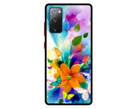 Husa Premium Spate Upzz Pro Anti Shock Compatibila Cu Samsung Galaxy S20 FE, Model Painted Butterflies 2, Rama Neagra