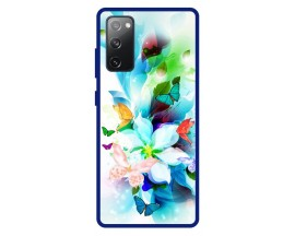Husa Premium Spate Upzz Pro Anti Shock Compatibila Cu Samsung Galaxy S20 FE, Model Painted Butterflies, Rama Albastra