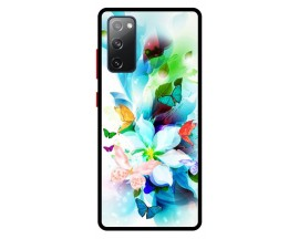 Husa Premium Spate Upzz Pro Anti Shock Compatibila Cu Samsung Galaxy S20 FE, Model Painted Butterflies, Rama Neagra
