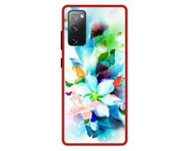 Husa Premium Spate Upzz Pro Anti Shock Compatibila Cu Samsung Galaxy S20 FE, Model Painted Butterflies, Rama Rosie
