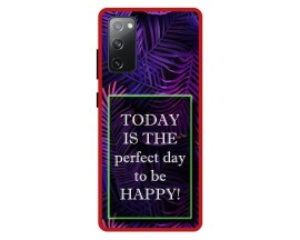Husa Premium Spate Upzz Pro Anti Shock Compatibila Cu Samsung Galaxy S20 FE, Model Perfect Day, Rama Rosie