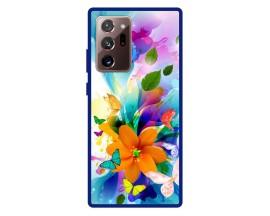 Husa Premium Spate Upzz Pro Anti Shock Compatibila Cu Samsung Galaxy Note 20 Ultra, Model Painted Butterflies 2, Rama Albastra