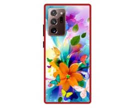 Husa Premium Spate Upzz Pro Anti Shock Compatibila Cu Samsung Galaxy Note 20 Ultra, Model Painted Butterflies 2, Rama Rosie