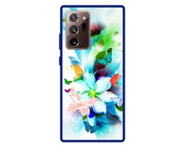 Husa Premium Spate Upzz Pro Anti Shock Compatibila Cu Samsung Galaxy Note 20 Ultra, Model Painted Butterflies, Rama Albastra