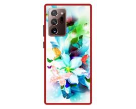 Husa Premium Spate Upzz Pro Anti Shock Compatibila Cu Samsung Galaxy Note 20 Ultra, Model Painted Butterflies, Rama Rosie