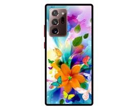 Husa Premium Spate Upzz Pro Anti Shock Compatibila Cu Samsung Galaxy Note 20 Ultra, Model Painted Butterflies 2, Rama Neagra