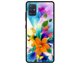 Husa Premium Spate Upzz Pro Anti Shock Compatibila Cu Samsung Galaxy A71, Model Painted Butterflies 2, Rama Neagra