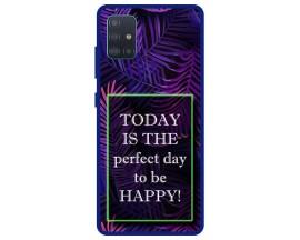 Husa Premium Spate Upzz Pro Anti Shock Compatibila Cu Samsung Galaxy A71, Model Perfect Day, Rama Albastra
