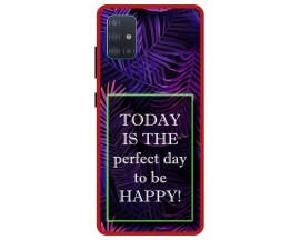 Husa Premium Spate Upzz Pro Anti Shock Compatibila Cu Samsung Galaxy A71, Model Perfect Day, Rama Rosie