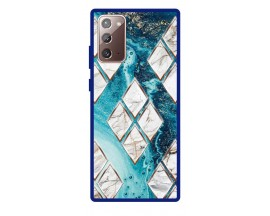 Husa Premium Spate Upzz Pro Anti Shock Compatibila Cu Samsung Galaxy Note 20, Model Marble 1, Rama Albastra