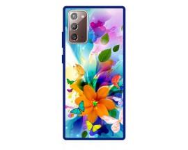 Husa Premium Spate Upzz Pro Anti Shock Compatibila Cu Samsung Galaxy Note 20, Model Painted Butterflies 2, Rama Albastra