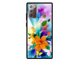Husa Premium Spate Upzz Pro Anti Shock Compatibila Cu Samsung Galaxy Note 20, Model Painted Butterflies 2, Rama Neagra