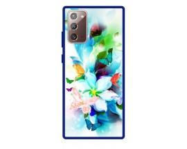 Husa Premium Spate Upzz Pro Anti Shock Compatibila Cu Samsung Galaxy Note 20, Model Painted Butterflies, Rama Albastra
