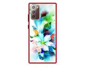 Husa Premium Spate Upzz Pro Anti Shock Compatibila Cu Samsung Galaxy Note 20, Model Painted Butterflies, Rama Rosie