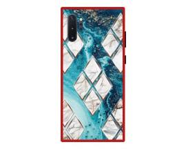 Husa Premium Spate Upzz Pro Anti Shock Compatibila Cu Samsung Galaxy Note 10+ Plus, Model Marble 1, Rama Rosie